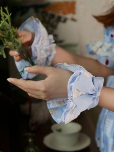 Image of Braccialetti Lolita dolci con stampe fiocchi polsiere accessori champagni misto cotone Tea party