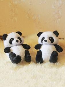 Accessoires de costume pyjama de Panda de Toussaint à motif panda pour adultes unisexe en flanelle Chaussures en flanelle noire Halloween