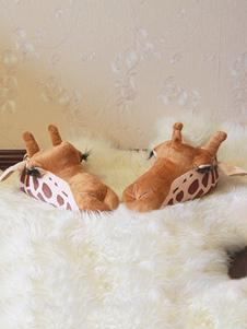 Accessoires de costume de pyjama d'animaux de Toussaint unicolore pour adultes unisexe en flanelle Chaussures en flanelle Brune Halloween