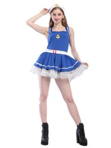 Disfraz de marinera de policía de poliéster azul de dos tonospara adultos con gorra&con vestido  Halloween