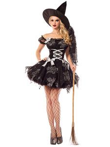 Image of Costumi Cosplay strega Carnevale abito per adulti neri set