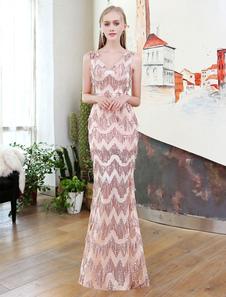 Robes de soirée de luxe Mermaid Lace Tassels Illusion Long Robes de bal V Neck Zigzag Brodé Formal Dress