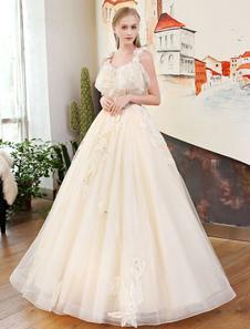 Robes de soirée Champagne Robes de mariée à laine à la longue Perles à l'illusion Beading Floor Length Formal Party Dresses