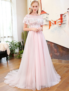 Long Robes de bal Soft Pink Tulle Illusion Ruffles Lace Beading Bow Sash Luxe Formal Party Dresses With Train