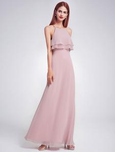 robe demoiselle d'honneur fête de mariage à licou multicouche en chiffon détail zip