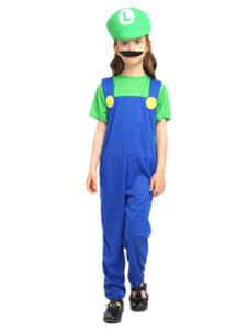 Image of Costumi Bambini super Mario Bros verdi per ragazzi cotone misto carnevale bicolore set tuta&cappello&con barba