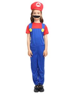 Image of Costume Bambini super Mario Bros rosso per ragazzo cotone misto carnevale bicolore set tuta&cappello&con barba