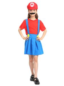 Image of Costume Bambini super Mario Bros rosso per ragazzo cotone misto carnevale bicolore set top&cappello&con barba&gonna