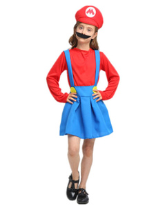 Image of Costumi Bambini rossi per ragazzi carnevale bicolore top&cappello&con barba&gonna set cotone misto