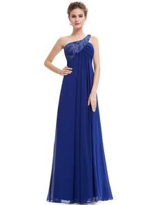 robe demoiselle d'honneur de bal A-ligne à une épaule plissée en chiffon