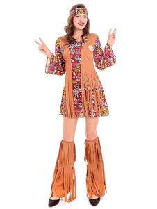 Costume hippie des années 1950 pour femme poly/coton avec guêtre  de botte Robe bandeau pour adultes en polyester pour femme Ensemble