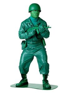 Costume d'Halloween masculin Soldat vert en 5 pcs