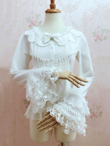 Image of Camicetta Lolita stile di Rococò bianca in chiffon maniche lunghe con scollo rotondo pizzo pieghettature monocolore