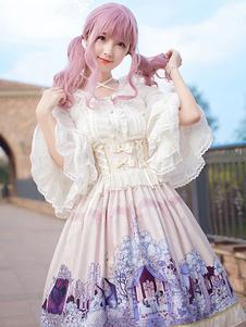 Image of Camicetta Lolita bianca stile di Rococò monocolore fiocchi a pieghe maniche lunghe con scollo tondo