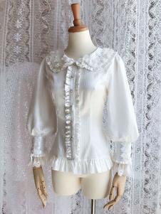 Image of Camicetta Lolita bianca stile di Rococò monocolore pizzo pieghettature maniche lunghe con colletto alla Peter Pan