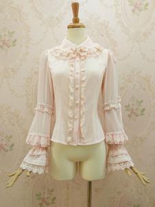 Image of Camicetta Lolita stile di Rococò rosa chiara in chiffon maniche lunghe con colletto pizzo pieghettature monocolore