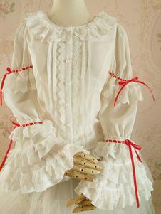 Image of Camicetta Lolita bianca stile di Rococò bicolore fiocchi pieghettature maniche lunghe con scollo tondo