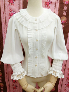 Image of Camicetta Lolita dolce bianca in chiffon maniche lunghe con scollo tondo pizzo pieghettature monocolore