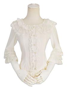 Image of Camicetta Lolita stile di Rococò bianca in chiffon maniche lunghe con scollo tondo pieghettature pizzo monocolore
