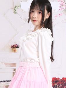 Image of Camicetta Lolita classico & tradizionale bianca lavorato a maglia maniche lunghe con scollo tondo pieghettature monocolore