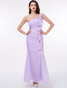 robe demoiselle d'honneur fête de mariage sirène à une épaule plissée en satin de soie stretch