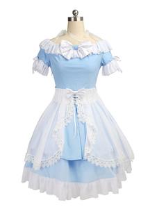 Image of Alice in Wonderland set blu donna Alice Anime Giapponesi in chiffon Grembiule inferiore del corpo