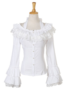 Image of Camicetta Lolita bianca stile di Rococò monocolore pieghettature pizzo maniche lunghe con scollo rotondo