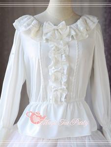 Image of Camicetta Lolita classico & tradizionale bianca in chiffon maniche lunghe con scollo tondo pieghettature fiocchi monocolore magic tea party