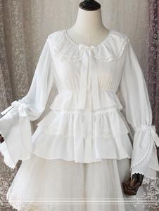 Image of Camicetta Lolita bianca classico & tradizionale monocolore pieghettature fiocchi maniche lunghe con scollo tondo