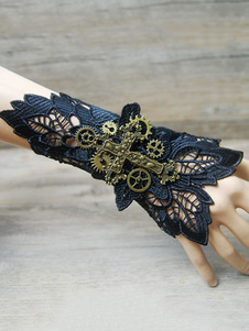 Image of Braccialetti Lolita steampunk bicolore pizzo polsiere accessori Blu Marino Scuri misto cotone Tea party