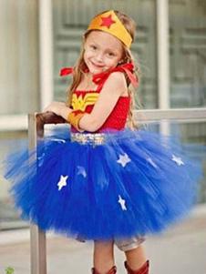 Image of Costume cosplay per bambini set blu rosso abito Cosplay bicolore in tulle per le vacanze Carnevale bambina fibra di poliestere