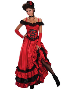 Image of Royal Vintage Costume Halloween Red Long Prom Dress With Hat For Women
