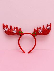 Image of Accessori per capelli accessori per adulti unisex accessori per la testa renna Natale rossi di poliestere
