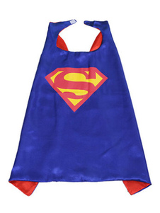 Image of Costume cosplay per bambini set blu reale mantello supereroi con stampe di poliestere Carnevale bambino fibra di poliestere