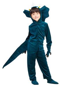 Costume d'Halloween de l'enfants dinosaure Ensemble Encre Bleu pour garçon de Toussaint Gants en flanelle en flanelle