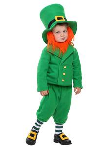 Costume d'Halloween pour enfants Spectre de Toussaint pour garçon en flanelle chapeau en flanelle verte Ensemble
