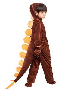 Costume d'Halloween pour enfants dinosaure de Toussaint pour garçon en flanelle Gants en flanelle Brune Ensemble