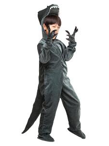 Costume d'Halloween pour enfants dinosaure Ensemble gris foncée pour garçon de Toussaint Gants en flanelle en flanelle