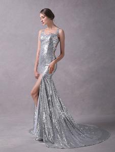 Image of Abiti da sera d'argento paillettes sexy in rilievo scintillante sexy spaccati incrociati indietro con abiti formali