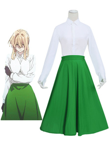 Image of Costume Cosplay violet evergarden donna set gonna lunga Cotone p