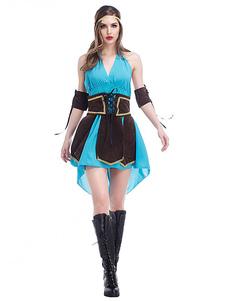 Image of Costumi blu di poliestere da rave party Cosplay cintura&abito&accessori bracciali&accessori per la testa