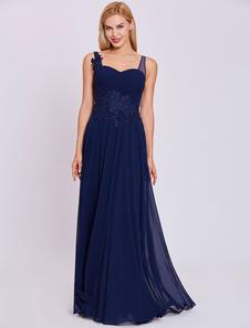 Vestidos de noche vestido de fiesta largo azul real apliques de encaje vestido de gasa longitud de vestidos formales