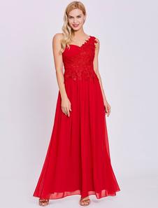 Vestidos de fiesta rojos Vestido largo de fiesta formal de gasa de un solo hombro con apliques de encaje