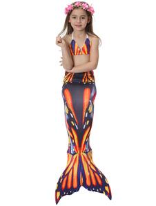 Disfraz de cola de sirena para niños Niñas con bañador naranja estampado
