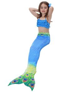 Image of Costume con Strascico a Sirena per Bambina 2018 Costume Blu da Bagno con Stampa Pavone per Bambina
