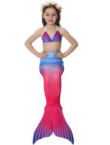 Disfraz de cola de sirena para niños Niñas bañador de licra fucsia Lycra Spandex