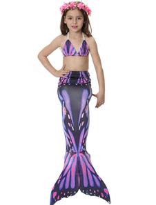 Disfraz de Niños Cola de Sirena 2018 Morado Estampado Trajes de Baño