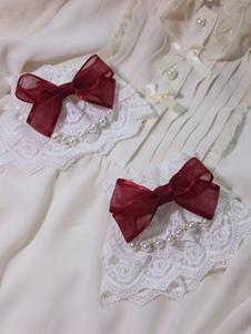 Image of Braccialetti Lolita dolci bicolore fiocchi polsiere accessori Rosa Cameo Tea party