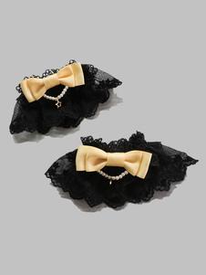 Image of Accessori Lolita dolci bicolore fiocchi polsiere accessori neri