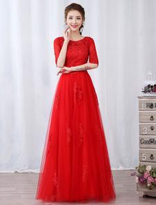 Vestido de fiesta barato de línea A hasta el suelo con escote redondo con 1/2 manga rojo para fiesta
